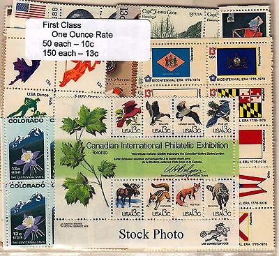 US Postage 20% Below $24.50 Face (150 each 13c, 50 each 10c), MNH, Original Gum
