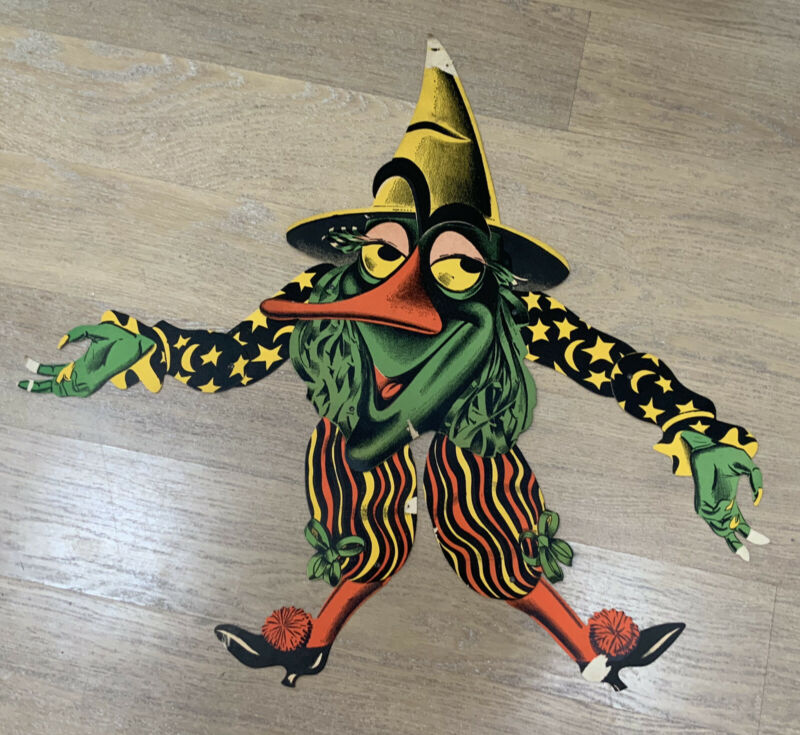 "OLD USA BEISTLE LUHRS 33"" HALLOWEEN JOINTED WITCH MONSTER DIECUT DECORATION"