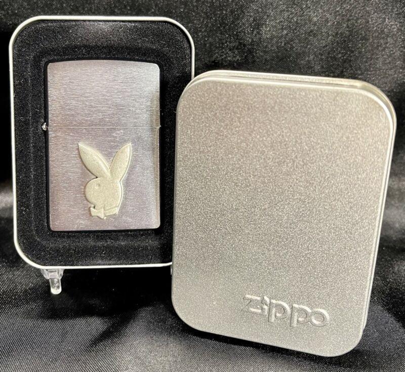 Zippo Lighter Playboy Bunny Head Pewter Logo Brushed Chrome Finish