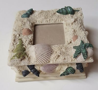 NWT Seashore Shell theme trinket jewelry box felt lined space for picture insert