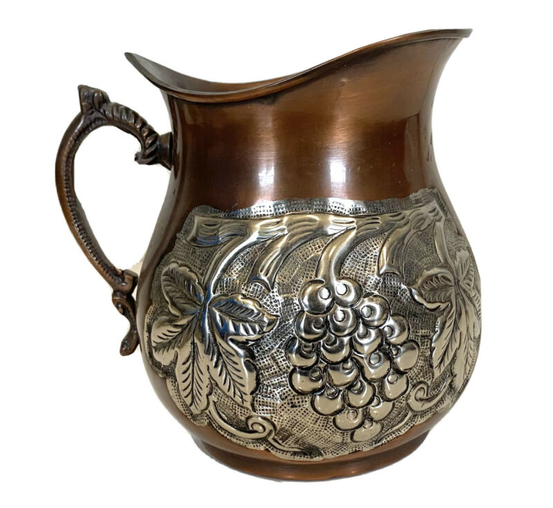 Copper Pitcher With Decorative Fruit Design In Silver Tone