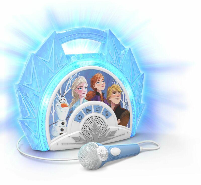 eKids - Frozen II Sing-Along Boombox Karaoke System - Light Blue/White