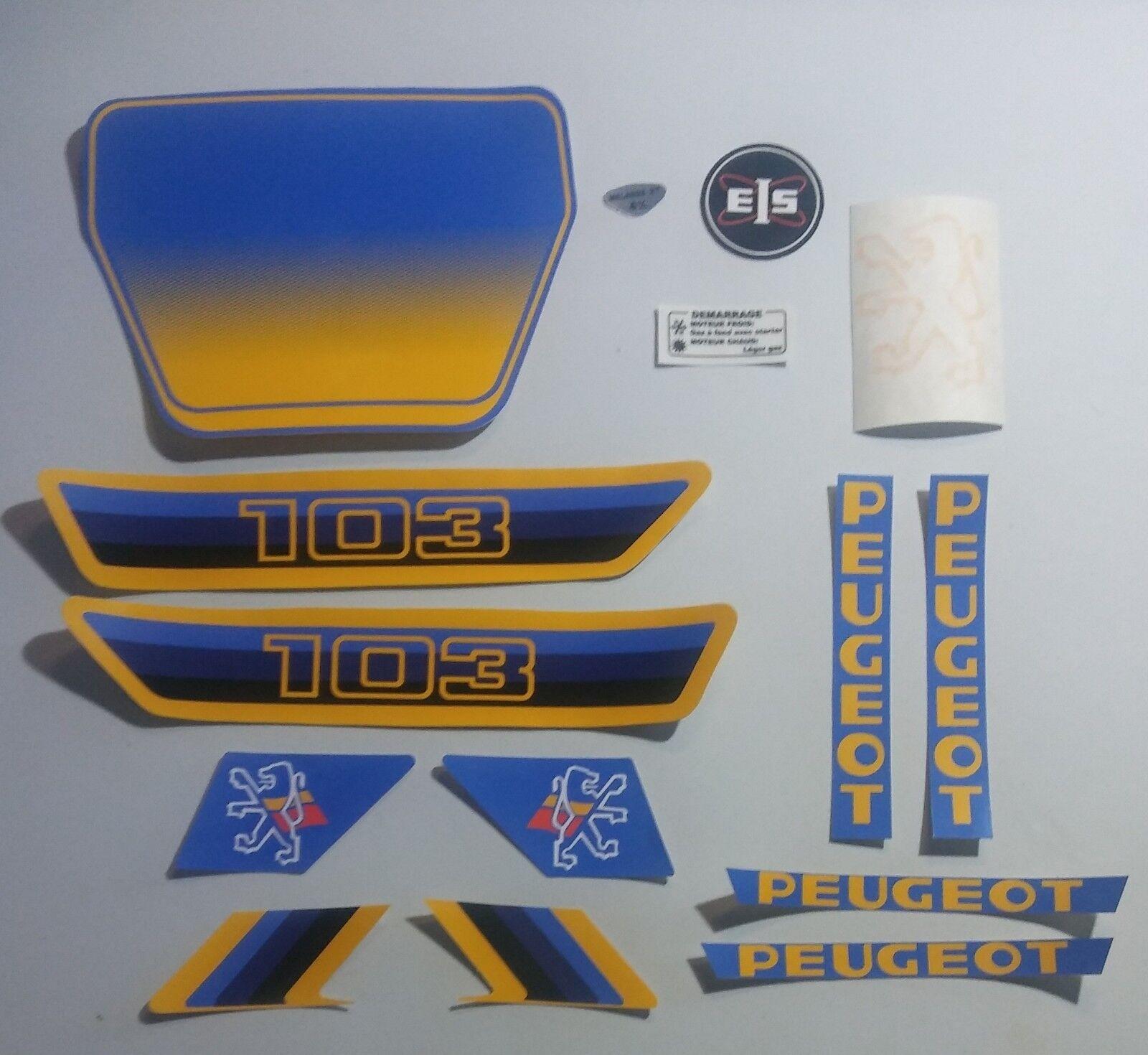 Autocollant Peugeot 103 Bleu/Jaune.