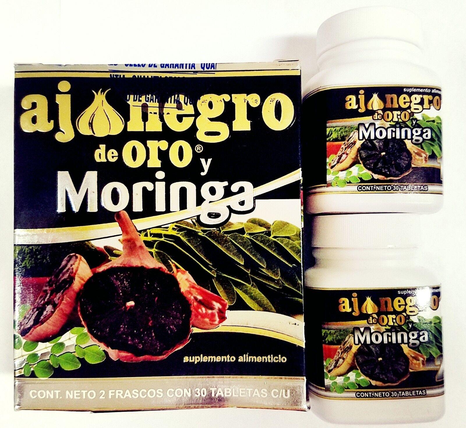 2 BOTTLES Ajo Negro & Moringa, Black Garlic 60 tabs 100% Nat ARTRITIS