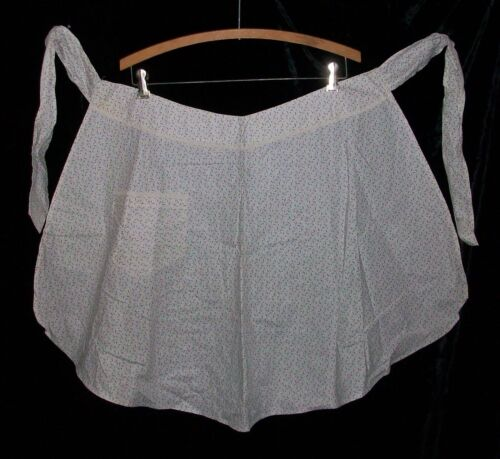 Antique Vintage 1880-1910 White with Black Design Half Cotton Collectable Apron