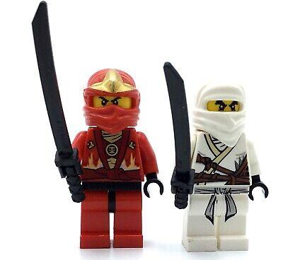 LEGO LOT OF 2 NINJAGO ZANE MINIFIGURES & KAI ELEMENTAL ROBE NINJA FIGURES