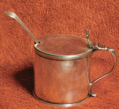 Antique Georgian Sterling Silver Mustard Pot w/ Spoon Glass Liner 1810 Chawner