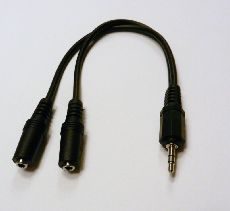 """3.5mm 1/8"""" Stereo Male Mini Plug to Two 3.5mm Stereo Jack Splitter Cable Cord"""