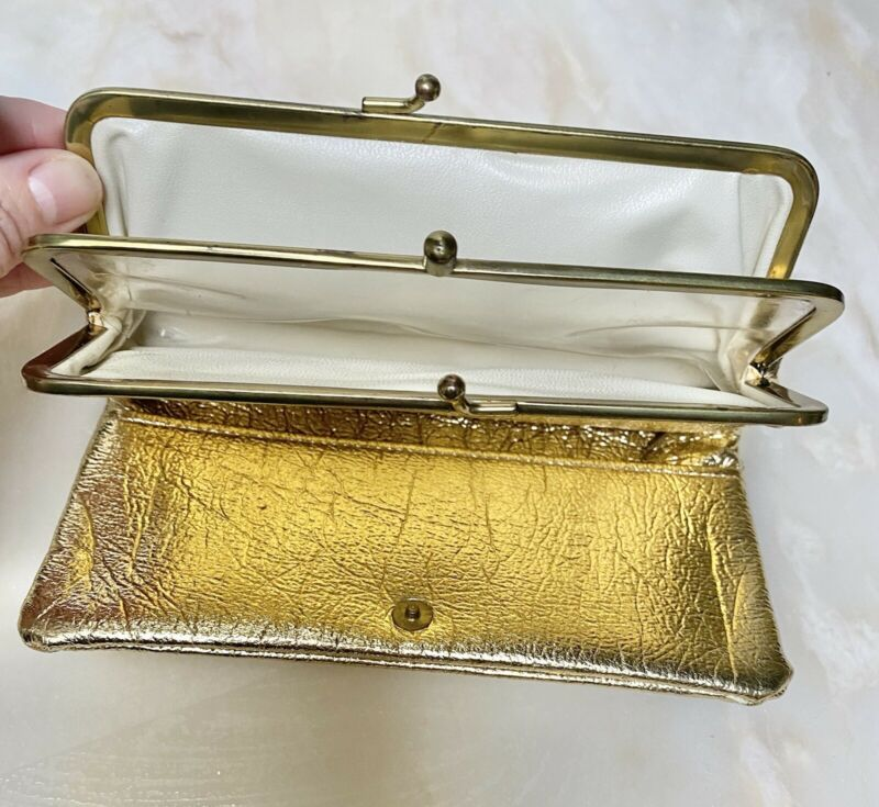 Midcentury Glam Gold Lame Folding Wallet Clutch, 7x3.5 in, Kisslock, Snap, Zip