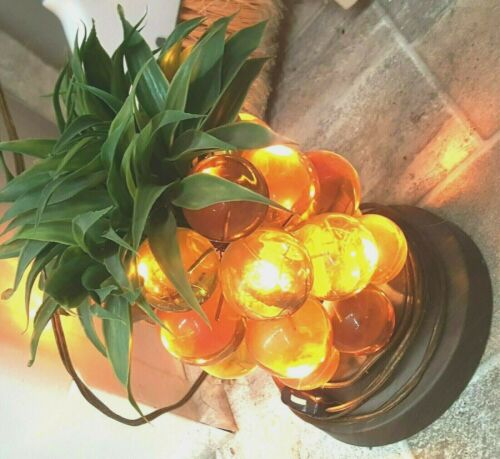 Vintage Lamp Cluster Grape Wooden Stand Lucite Acrylic Glass Amber Gold Light