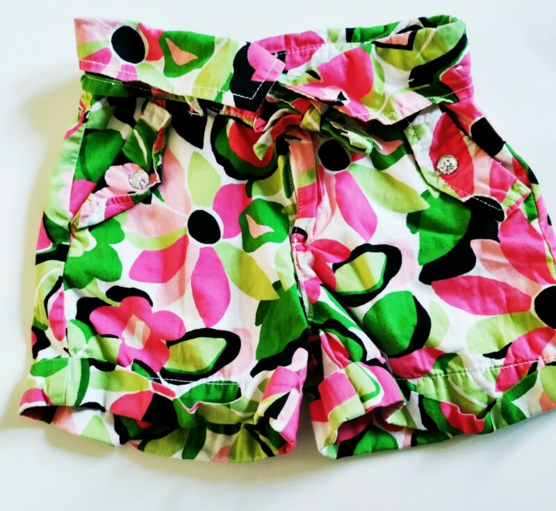 Gymboree Palm Beach Paradise Girls 8 Fold Over Flower Shorts Pink Green