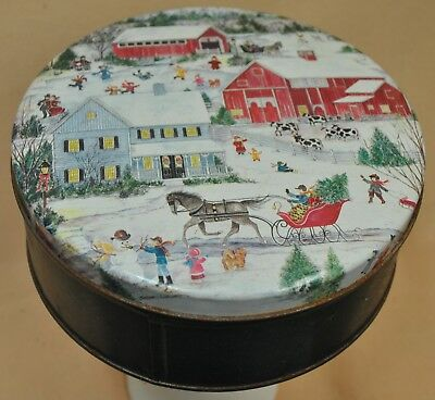 Metal Tin Can Container Christmas Gift Box and Lid Winter at the Covered Bridge  ()