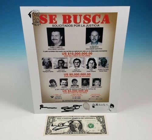 Pablo Escobar Wanted Poster $1 Bill Roberto Autograph Signed Fingerprint Narcos