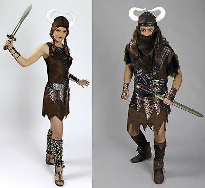 Kostüm Wikinger Wikingerin Barbar Krieger Partnerkostüm Damen 4tlg Herren 5tlg