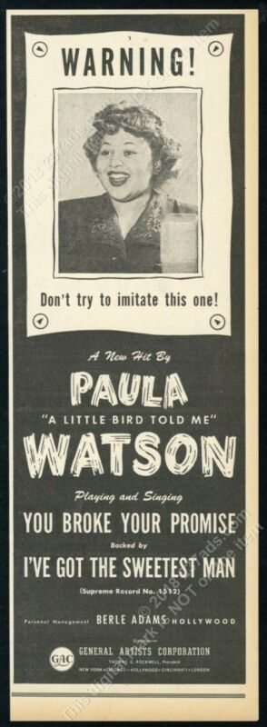 1950 Paula Watson photo A Little Bird Told Me scarce vintage trade print ad