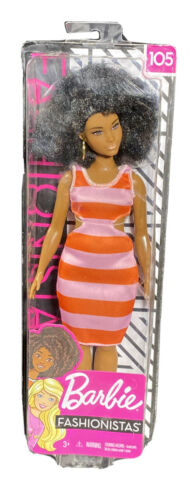 Barbie Fashionistas Doll, Curvy, Wearing Striped Dress Accessories Figure - $16.20