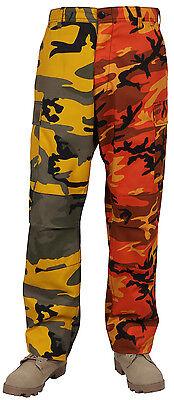 Orange Yellow Two Tone Camo Pants Military BDU Cargo Fatigue Trouser Rothco 1830 ()