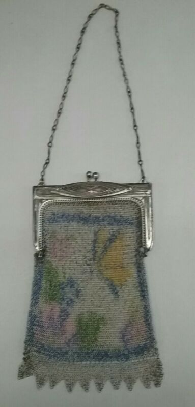 Vintage Whiting And Davis Mesh Art Deco Flapper Purse