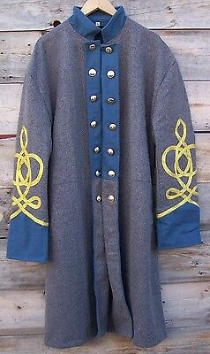 civil war confederate infantry frock coat with 4 row braids 48