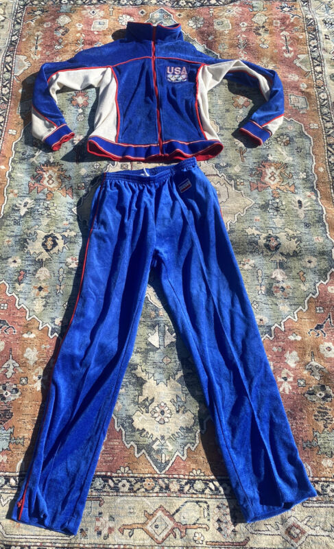 Vintage 1980's Levis Olympics Red/Wht/Blue USA Velour Tracksuit Jacket & Pants L