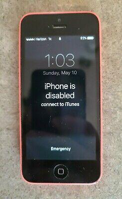 Apple iPhone 5c Model A1532 Locked Pink Verizon - WORKS - NEEDS RESTORE
