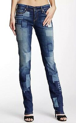 New True Religion Cora Straight Patched Denim Btod Forgotten Path Jeans Sz 23X34