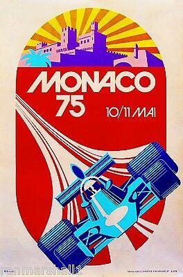 1975 Monaco French Grand Prix Art Automobile Race Advertisement Vintage Poster