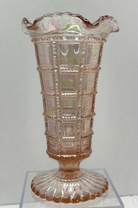 Vintage Lenox Imperial Iridescent Pink 6-inch Carnival Glass Vase
