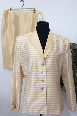 NWT Kasper A.S.L Women Yellow Stripe 100% Silk 2 Piece Skirt Suit Sz 16 Ret.$160