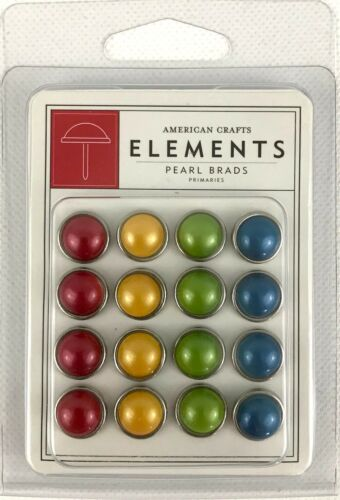 American Crafts Elements Pearl Brads Primaries