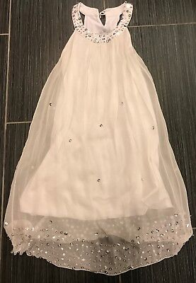 Flowers by Zoe Boutique Tween White Silk Sleveless Sequined Dress SZ S (7-8)