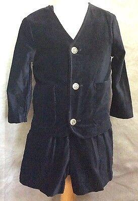 BOYS 4 Black Velvet Shortalls JACKET 2pc SET Blazer Suit USA STORYBOOK HEIRLOOMS](Boys Black Velvet Jacket)
