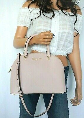 NWT MICHAEL KORS EMMY DOME LARGE SATCHEL SMOOTH LEATHER SHOULDER BAG BLOSSOM