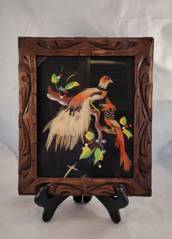 """Vintage Bird Feather Picture Wooden Frame Made in Mexico Folk Art 12""""x10"""""""