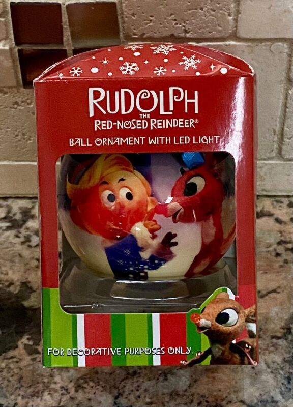 Rudolph the Red Nose Reindeer Ball Ornament with LED Light - 3 inch Diameter