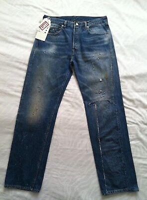 NWTG Levis Vintage LVC 1966 501 Men SZ 32X32 Distressed Selvedge denim jeans