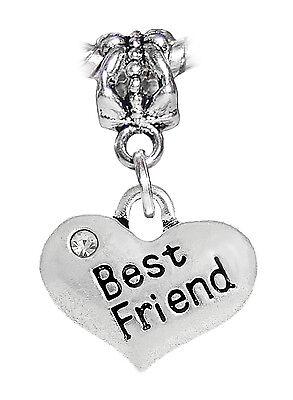 Best Friend Rhinestone Heart BFF Gift Word Dangle Charm for European