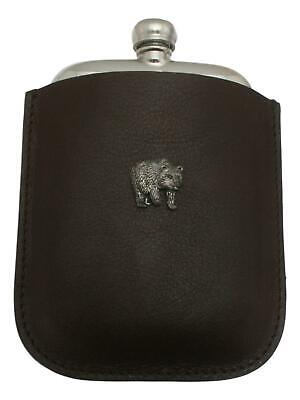 Bear Pewter 4oz Kidney Hip Flask Leather Pouch FREE ENGRAVING 026