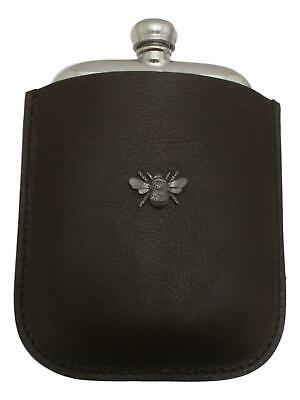Bumble Bee Pewter 4oz Kidney Hip Flask Leather Pouch FREE ENGRAVING 027