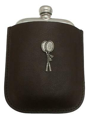 Badminton Pewter 4oz Kidney Hip Flask In Leather Pouch FREE ENGRAVING 017