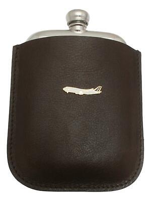 Boeing 747 Pewter 4oz Kidney Hip Flask Leather Pouch FREE ENGRAVING 036