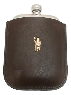 Beefeater Pewter 4oz Kidney Hip Flask Leather Pouch FREE ENGRAVING 031