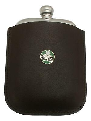 Ball & Jack Green Enamel Pewter 4oz Hip Flask Leather Pouch FREE ENGRAVING 18