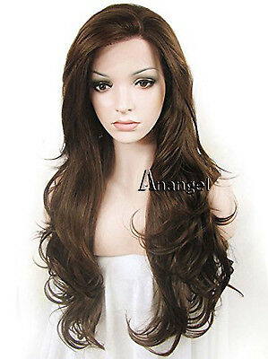 Anogol Natural Brown Synthetic Lace Front Wig Wavy Affordable Brazilian Hair - Affordable Wigs