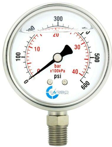 "2-1/2"" Pressure Gauge, ALL STAINLESS STEEL, Liquid Filled, Lower Mnt, 600 Psi"