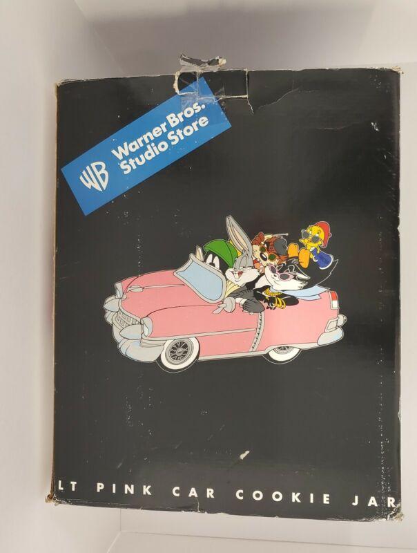 Vintage 1999 Warner Brothers Looney Tunes Pink  Car Cookie Jar. Bugs, Tweety ect