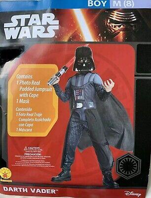 EUC Disney Child Star Wars Darth Vader Costume w/Jumpsuit Cape Mask Medium 8