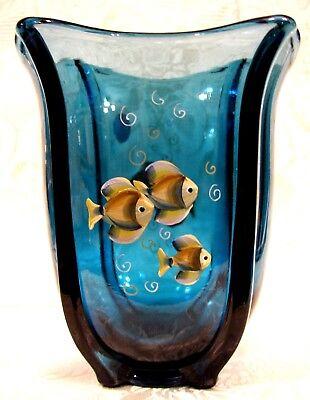 """2007 Fenton Indigo Blue Handpainted """"Tranquil Sea"""" Square Vase"""