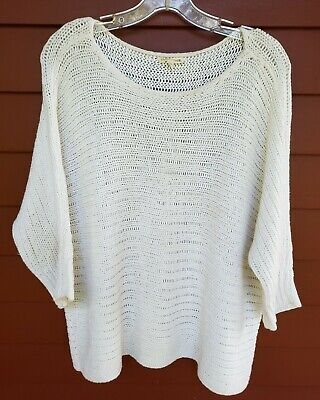 Womens EILEEN FISHER Ivory Cotton Linen Blend Chunky Open Knit LG Sweater EUC