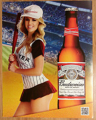 Sexy Girl Beer Poster Bud Budweiser ~ Los Angeles Dodgers DOYERS Doyer Baseball